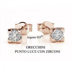 Orecchini Donna Argento Rosè - Punto Luce con Zirconi