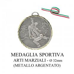 Medaglia sportiva in metallo argentato - Arti Marziali