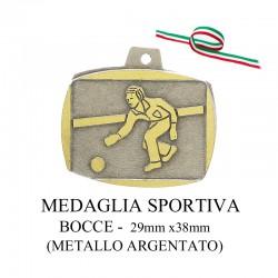 Medaglia sportiva in metallo argentato - Bocce