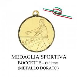 Medaglia sportiva in metallo dorato - Boccette