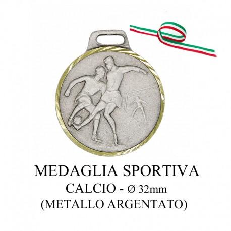 Medaglia sportiva in metallo argentato - Calcio