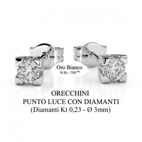 Orecchini donna oro bianco - Punto Luce con diamanti