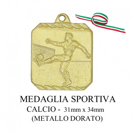 Medaglia sportiva in metallo dorato - Calcio