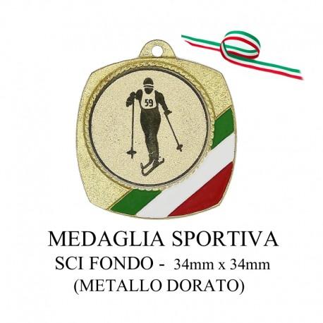 Medaglia sportiva in metallo dorato - Sci fondo
