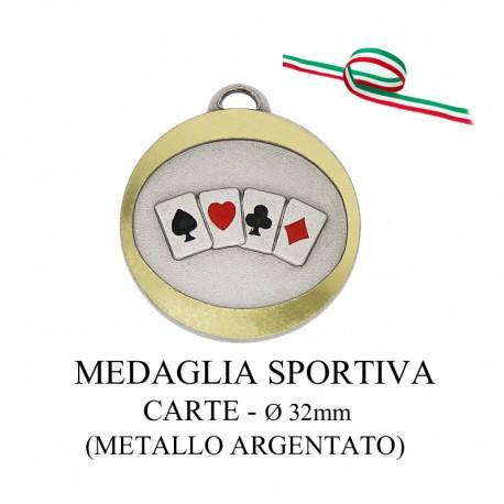 Medaglia sportiva in metallo argentato - Carte