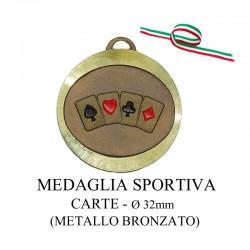 Medaglia sportiva in metallo bronzato - Carte