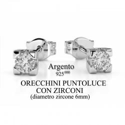 Orecchini Donna Argento - Puntoluce con zirconi Ø-6mm
