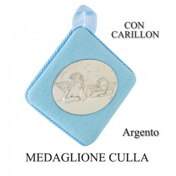 Medaglione culla argento con carillon