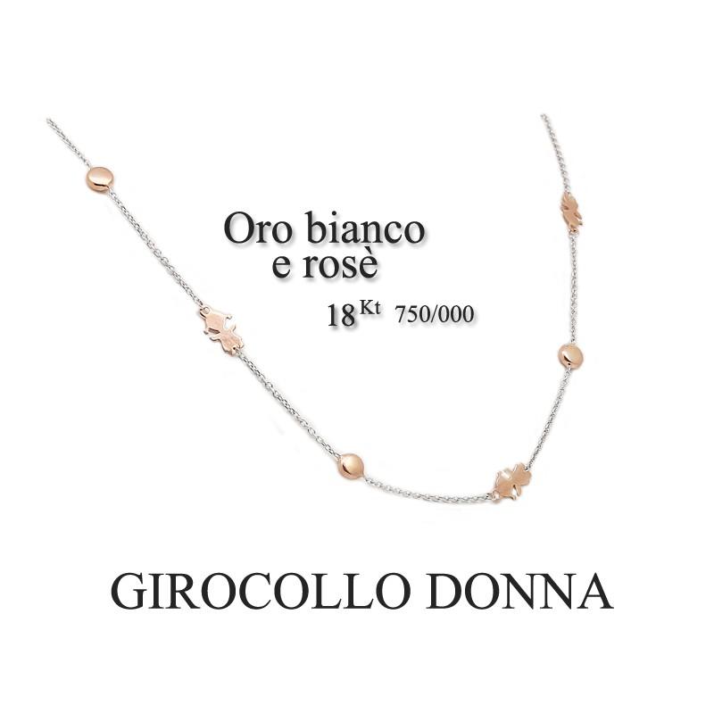 selezione migliore c5bd0 bdd69 Girocollo donna oro bianco e rosè - 18Kt Tit.750