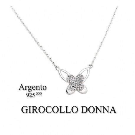 girocollo donna argento  Girocollo collana donna argento 925 con ciondolo farfalla stilizzata ...